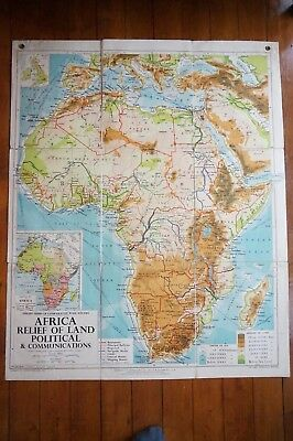 1950s Philips Large Wall Map Africa Relief of Land Railways Linen Backed