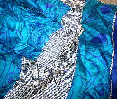 SILK BLEND Antique Vintage Sari Saree Fabric Material 4yd Z18 Pcblue Blue #,AOO8