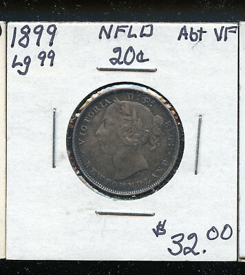 1899 Large 99  Newfoundland 20 Cents VF TB225