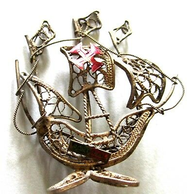 Wonderful Vintage Pirate Ship 3D Standing Twist Wire Design 2 In Tall Portugal