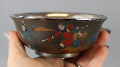 19thC Antique Signed Chinese Lacquer Wine Cup Bowl Silver Liner Warrior Painting