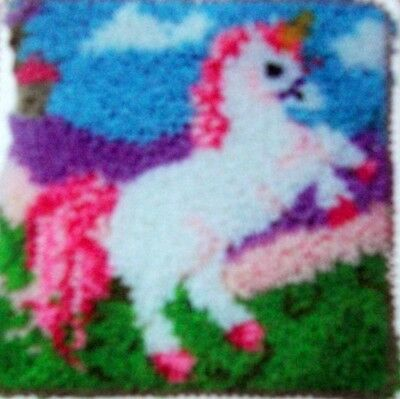 "Latch Hook   Rug/ Pillow  Kit  ""a Unicorn"" Latch Tool Included"