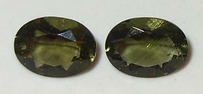 1.88ct Pair Faceted TOP QUALITY Natural Czechoslovakia Moldavite Oval Cut 8x6mm