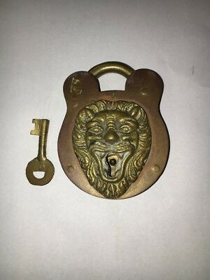 Antique Victorian Brass Figural Lion  Padlock Lock With Key Patented 1896