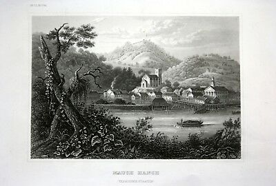 ca. 1840 Mauch Hanch Amerika America Ansicht view Stahlstich engraving