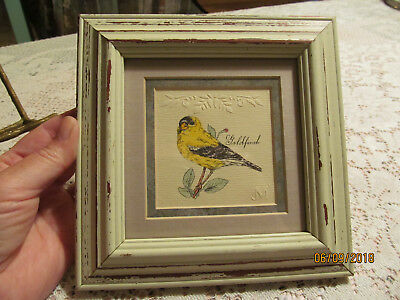 """Mpressions Embossed Hand Painted Goldfinch Bird In Shabby Chic Frame 7"""" X 7"""""""