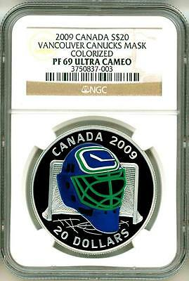 2009 Canada S$20 Vancouver Canucks Goalie Mask Colorized NGC PF69 Ultra Cameo