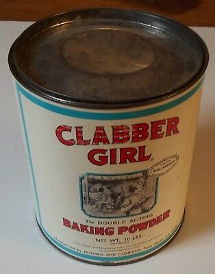 Vintage CLABBER GIRL Baking Powder Tin 10 POUNDS (8 inches tall)