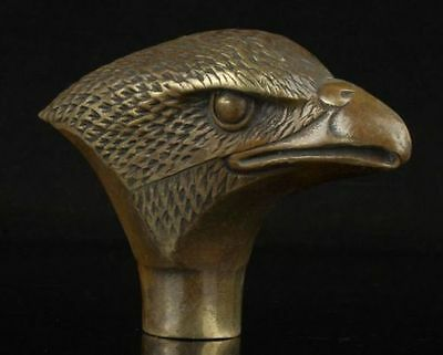 chinese Old Bronze Hand Carved Eagle Statue Cane Walking Stick Head
