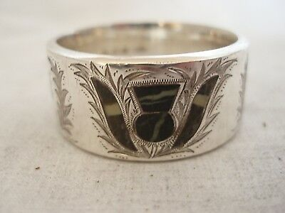 Agate Inlaid Thistle Napkin Ring Sterling Silver Birmingham 1923