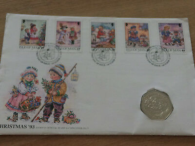 Isle Of Man Christmas 1993 Fdc + 1993 Isle Of Man 50 Pence Christmas  (Nba 7/16