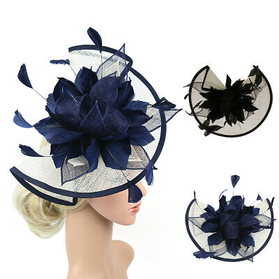 Women s Fascinator Hat Large Feather Headband Wedding Party Bridal Headpiece 13abccaa247