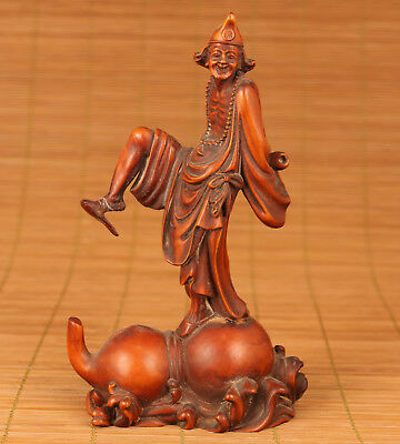 Rare Old Boxwood Hand Jigong Highly skilled doctor Statue Feng Shui Decoration