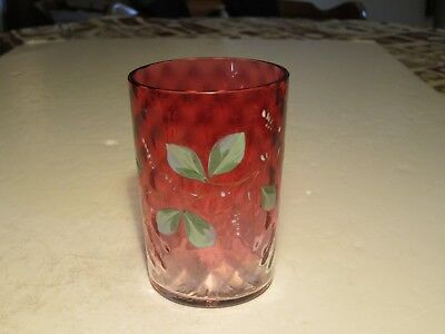 Antique Victorian Cranberry Diamond Quilted WIth Hand Decorated Enamel Tumbler