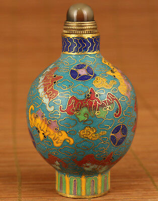 Rare 100% Fine Art Chinese Old Cloisonne Hand Painting Bat Statue Snuff Bottle