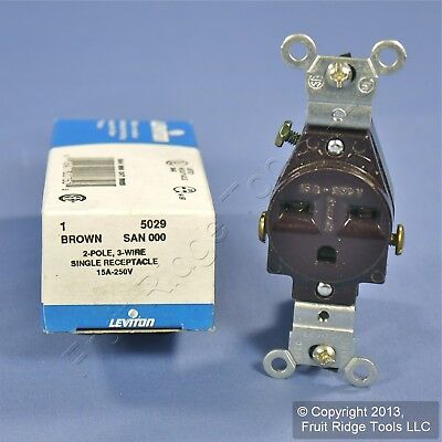 NEW LEVITON BROWN COMMERCIAL Outlet Receptacle NEMA 6-15R 15A 250V 5029  Boxed