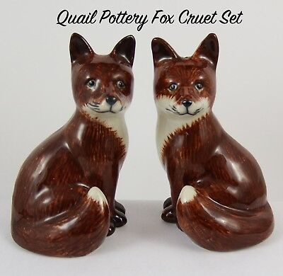 Very Cute Quail Pottery Fox Cruet Set
