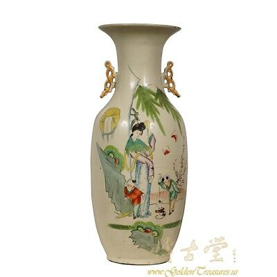 "A Rear Chinese Antique Famille Rose ""Beauty and Kids"" Vase with Two Handles 18LP"