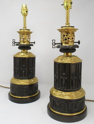 Pair French Patinated Bronze Electric Table Lamps Ormolu Mounts 19C  SUPERB ITEM