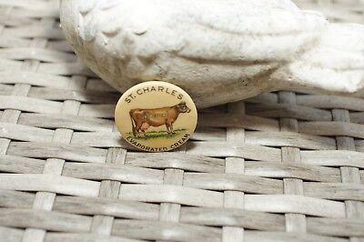 Cello Pinback Button (ST CHARLES IL) COW EVAPORATED CREAM-UNSWEETENED