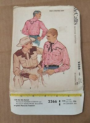1959 McCall's 2366 Men's Western Shirt M 38-40 UnCut Complete with Transfer