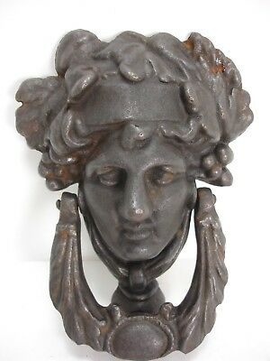 Cast Iron Figural Head Roman Greek God Goddess Door Knocker Heavy