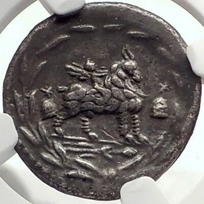 Roman Republic 85BC Ancient Silver Coin VEJOVIS & GENIUS / CUPID GOAT NGC i70140