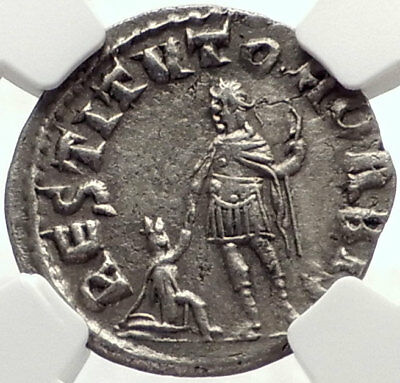 VALERIAN I Authentic Ancient Silver Roman 256AD RESTITVTOR ORBIS Coin NGC i70143