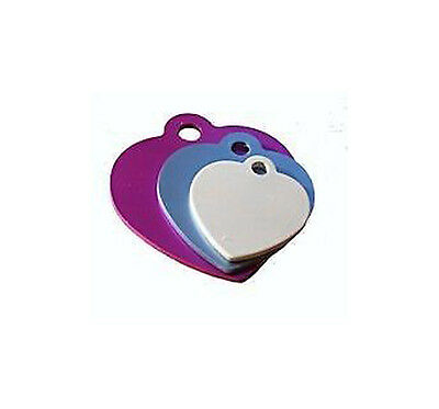 Personalised heart pet id tag dog puppy cat kitten engraved free