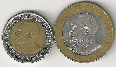 2 DIFFERENT BI-METAL COINS from KENYA - 5 & 10 SHILLINGS (BOTH DATING 2010)