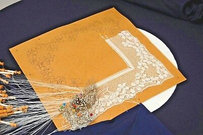 Lace Making Tatting Pillow Cushion + Bobbins with spangles Fabric Carry Bag #4