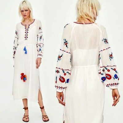 white Vintage Hippie Ethnic Women Floral Embroidery Mexican Boho Dress Beach Hot
