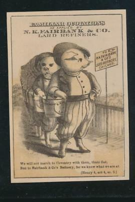 Victorian trade card, N K FAIRBANK'S LARD, Quote, Shakespear, Henry IV