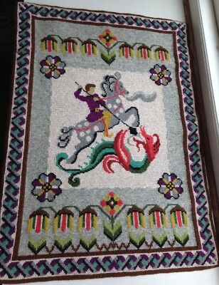 Vintage Swedish Embroidered Large Tapestry / St George and the Dragon