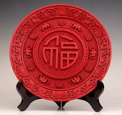 Chinese Red Lacquerware Engraved With Lucky Characters Plate Presents