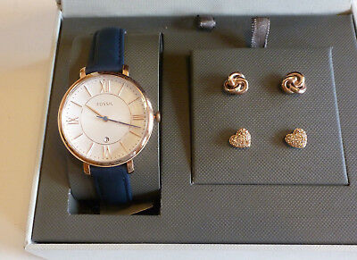NEW Ladies FOSSIL Gift Set Navy Blue Watch   Rose Gold Earrings 2 pair  ES4140SET f909ca9939