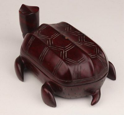 Rare Artifacts Carved Turtle Statue Carved Rosewood Jewel Box