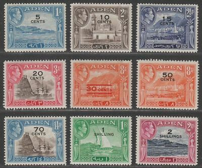 Aden 1951 King George VI Surcharge Set to 2sh Mint SG36-44 cat £24