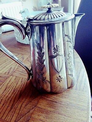 Antique Silver Plated Engraved Coffee Pot