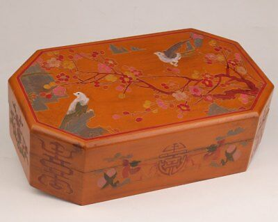 China Qing Dynasty Hand-Painted Lacquerware Plum Flower Birds Large Food Box