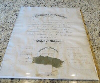 1877 University of Virginia Medical School Diploma - James Garner Williamson