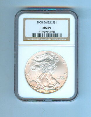 2008 One Dollar American Eagle Silver  Ngc - Ms69
