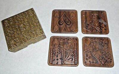 Mid Century Vintage Matina Decor 3M Rubber Coaster Set of 4 Card Suit In Box W