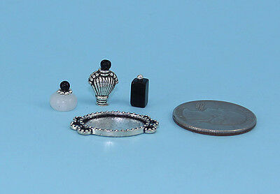 FABULOUS Set of 3 Dollhouse Miniature Perfume Bottles with a Vanity Tray #PS42