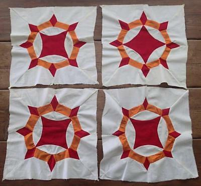 Set of ANTIQUE Four Red And Orange Quilt Blocks 16x15 Ceasers Crown