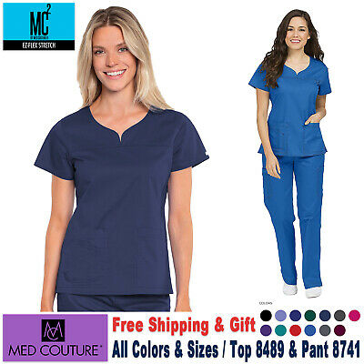 Med Couture Scrubs SET  EZ FLEX Stretch TOP & PANT Medical Nursing Uniform