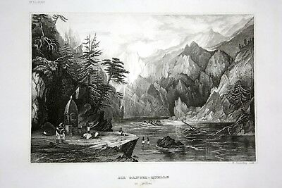 ca. 1840 Ganges Quelle Indien India Ansicht view Stahlstich engraving