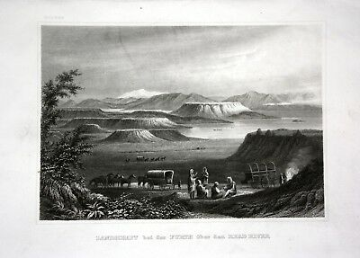 ca. 1840 Red River Mississippi Furth Ansicht view Stahlstich engraving