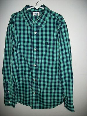 Old Navy Boys size 10/12 Shirt~VGUC~Checked~Green/Navy Blue~