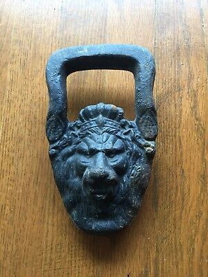 CAST IRON LION'S HEAD with CROWN-HANDLE-TRUNK PULL-ARCHITECTURAL-RUSTIC-Antique